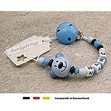 Baby SCHNULLERKETTE mit NAMEN | Schnullerhalter mit Wunschnamen - Jungen Motiv Bär in blau