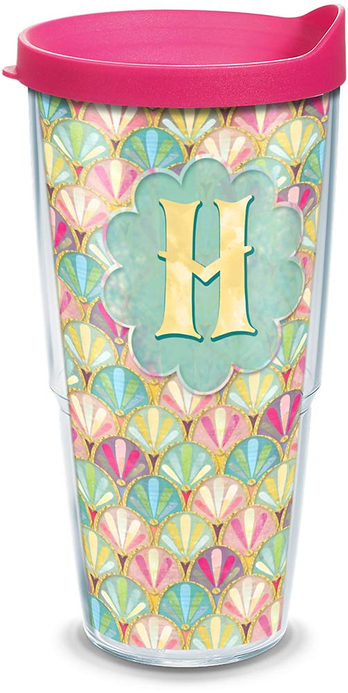 Tervis 1321855 INITIAL-H Multicolored Scallop Insulated Travel Tumbler with Wrap and Fuchsia Lid 24oz Tritan Clear