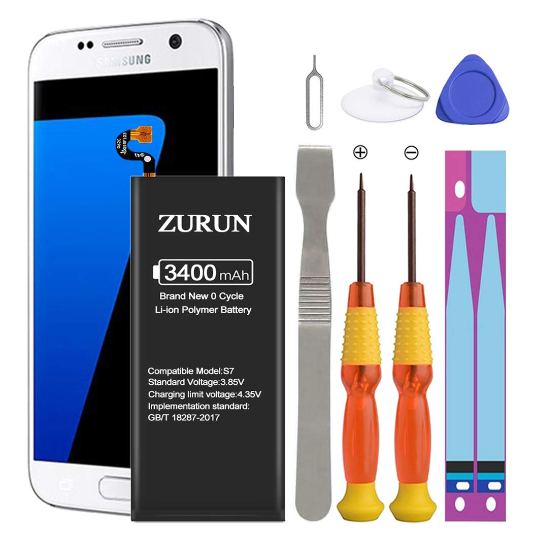 Galaxy S7 Battery ZURUN 3400mAh Li-Polymer Battery EB-BG930ABE Replacement for Samsung Galaxy S7 G930 G930V G930A G930T G930P with Screwdriver Tool Kit | S7 Battery Replacement Kit [2 Year Warranty] by ZURUN
