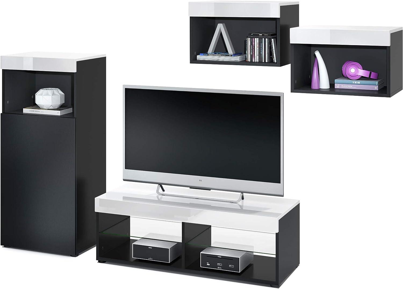 Conjunto de Muebles de Pared Pure, Cuerpo en Negro Mate/Partes Superiores y Paneles en Blanco de Alto Brillo | Amplia selección de Colores: Vladon: Amazon.es: Hogar