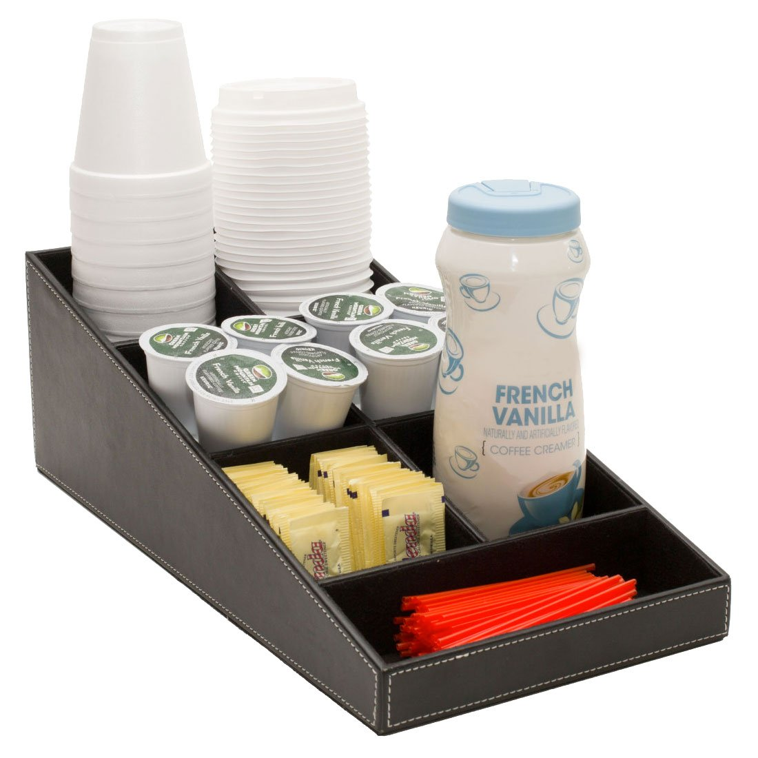 G.U.S. 1-Piece Coffee & Tea Condiment and Accessories Organizer with 7 Compartments for Office Breakroom or Home Kitchen. Decorative Black Leatherette OFC30050BKKR
