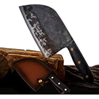 Ancient Manual Forging Chef's Knife, Butcher Knives Outdoor Meat Vegetable Fruit Cleaver for Kitchen, BBQ or Camping