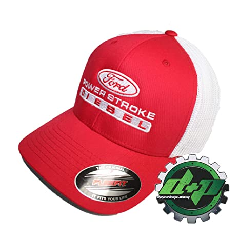 57c38f236 Amazon.com : Red White mesh Trucker Ford Powerstroke Power Stroke ...