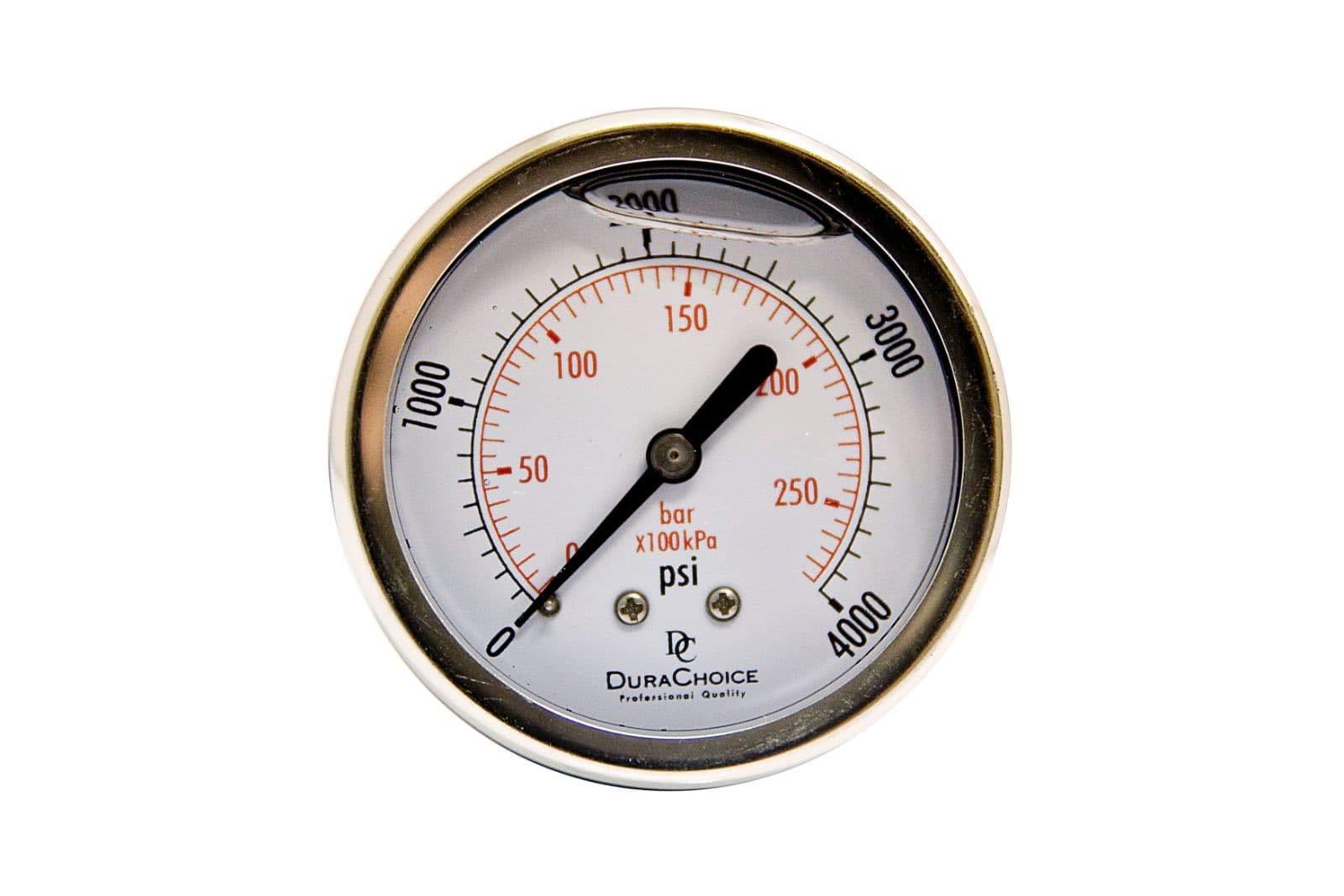 2'' Liquid Filled Pressure Gauges - Stainless Steel Case, Brass, 1/4'' NPT, Center Back Mount Connection, 0-4000PSI by DuraChoice