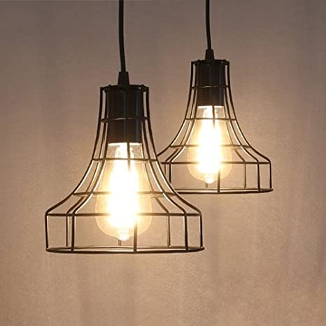 2 pack e26 vintage metal cage pendant lamps lighting chandelier