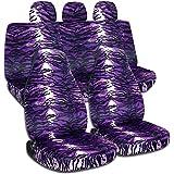 Animal Print Car Seat Covers w 3 Rear Headrest Covers: Purple Snow Tiger - Semi-custom Fit - Full Set - Will Make Fit ANY Car/Truck/Van/SUV (29 Prints)
