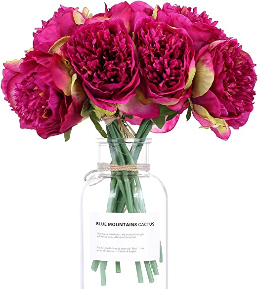 Silk Artificial Flower Bouquet Peony 5 Heads Fake Leaf Home Wedding Party Decor