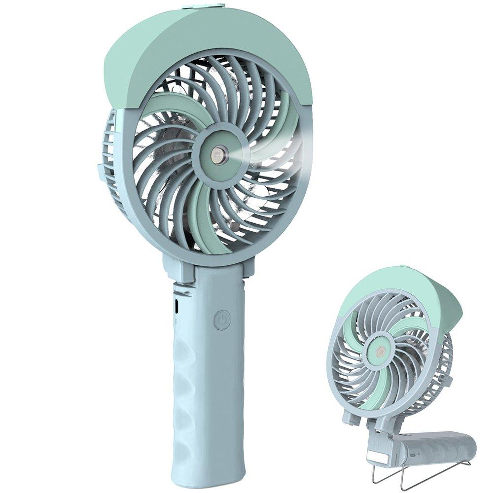 Handheld Misting Fan, HandFan Mini Hand Fan/Small Desk Fan Folding Change Rechargeable Battery/USB Operated Electric Fan Portable Cooling Fan personal Spray Fan with Cooling Humidifier/Mister/3 Speeds