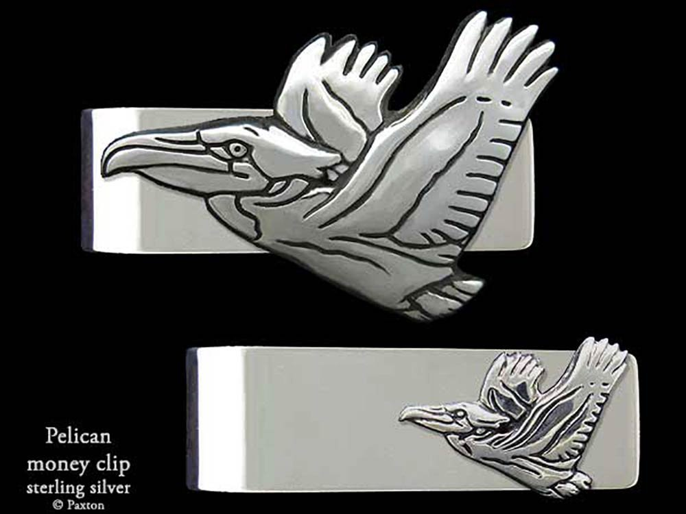 Pelican Money Clip in Solid Sterling Silver Hand Carved, Cast & Fabricated by Paxton