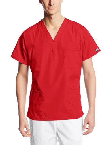 Cherokee Big and Tall Originals Unisex V-Neck Scrubs Shirt, Red, XXX-Large]()