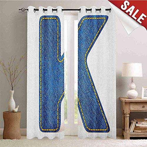 Hengshu Letter K Decorative Curtains for Living Room Alphabet Font Denim Style Blue Jean Texture Capitalized Character K Illustration Waterproof Window Curtain W84 x L96 Inch Blue Yellow