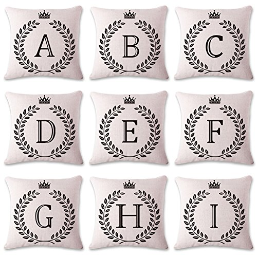 Letter V Pillow Case, Coliang Letter Cushions Cover Blend Cotton English Alphabet Cushion Decorative Pillows Wheat Throw Pillow Cushion 18x18 Inch(45x45CM) - Letter V