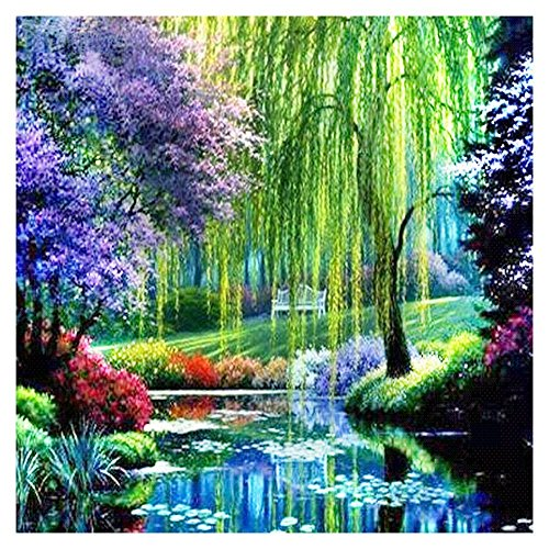 DIY 5D Diamond Painting Kit, Full Diamond Willow Landscape Natural Scenery Embroidery Rhinestone Cross Stitch Arts Craft Supply for Home Wall Decor (Sticks Diamond Willow)