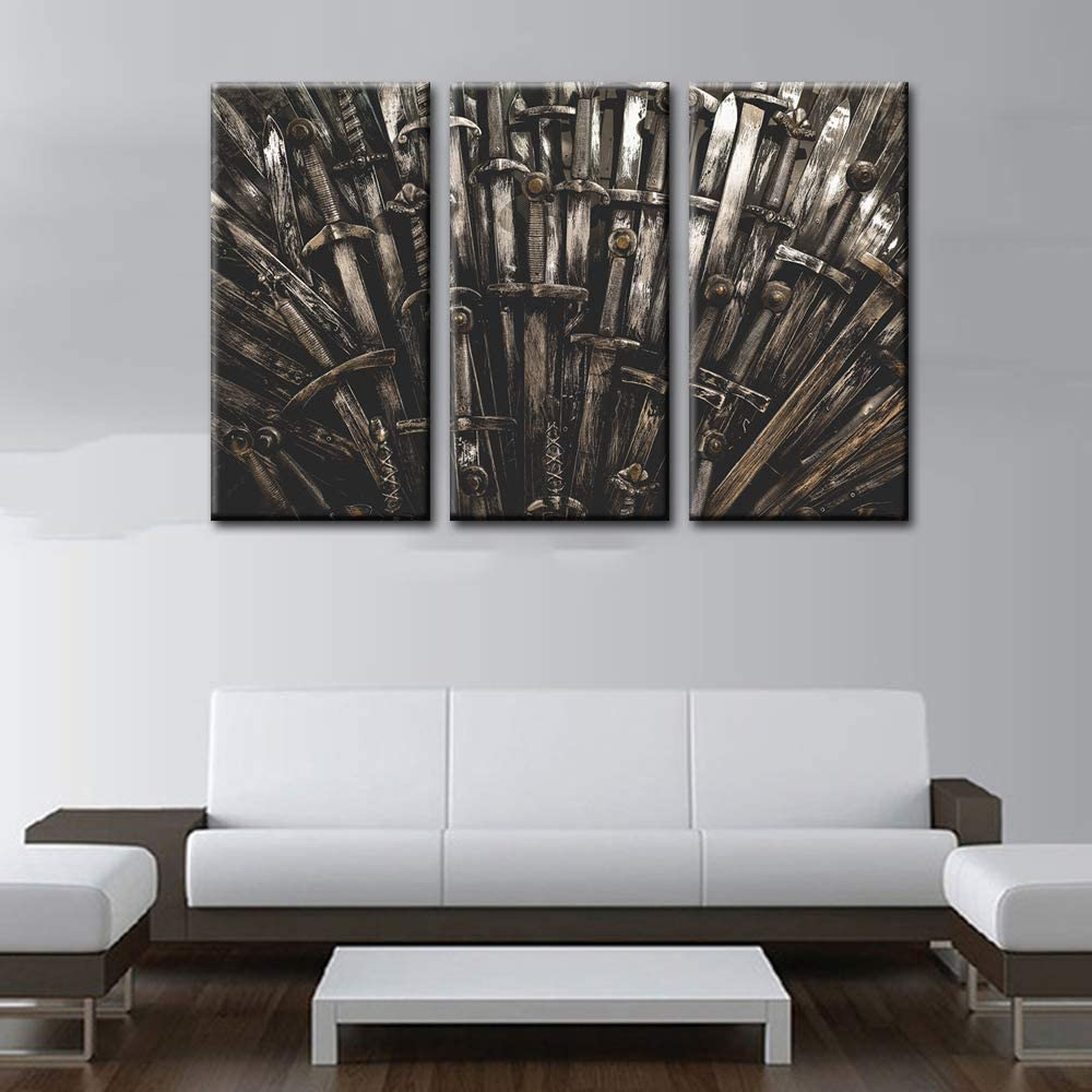 Game of Thrones Decor Metal knight swords Paintings Hero Pictures 3 Piece Canvas Wall Art Modern Artwork Home Decor for Living Room Wooden Framed Gallery-wrapped Stretched Ready to Hang(40''x60'')