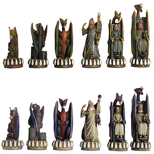 Wood Expressions Hand Painted Dragon Kingdom Polystone Chess Pieces ()