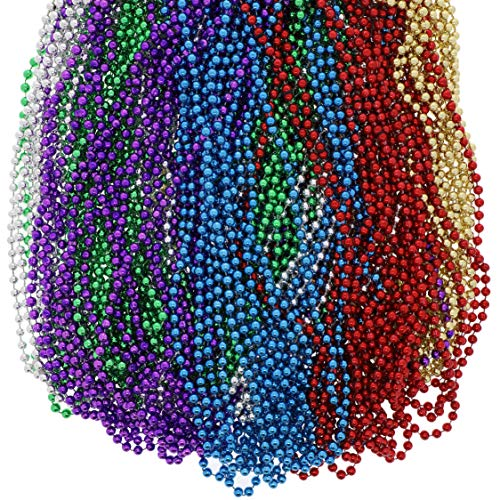 Juvale 96-Pack Mardi Gras Bulk Parade Beads, Party Favors, Assorted Colors, 33 Inches
