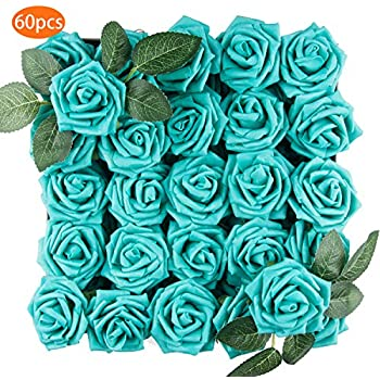 TOPHOUSE 60pcs Artificial Flowers Roses Real Touch Fake Roses for DIY Wedding Bouquets Bridal Shower Party Home Decorations (Teal)