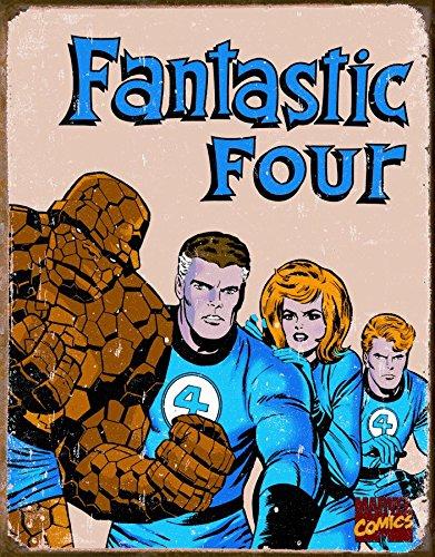 Fantastic Four Retro Tin Sign 12 x 16in (Thing Superhero)