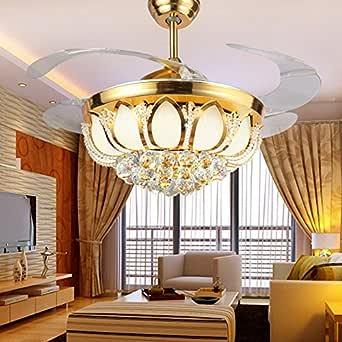 Ventilador LED luces, ventiladores de techo, invisible salón ...