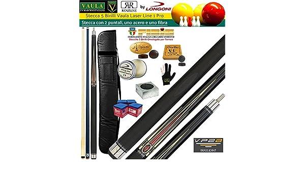 Taco 5 Birilli y 9 birilli-goriziana Billar Internacional Longoni Vaula láser 1 Pro, homologado fibis, con doble punta, acero y fibra de carbono, con vaina Prince 1 + 2, rodillos, accesorios DÂ