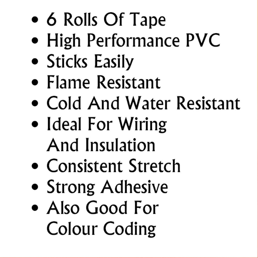 Fire Retardant Tape 6 Pack Ideal For Electric Wiring And Australian Code Colours Insulation Diy Tools