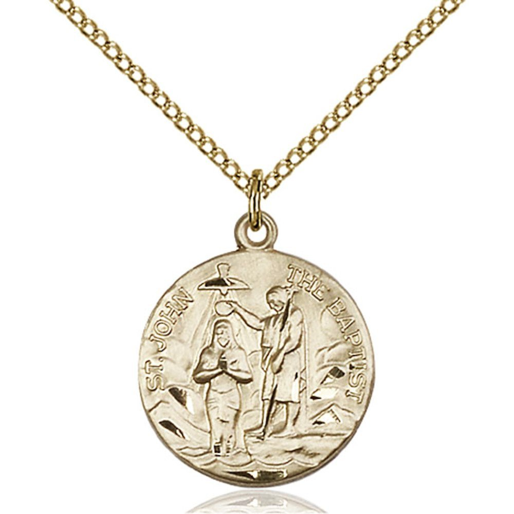 Gold Filled St. John the Baptist Pendant 3/4 x 5/8 inches with Gold Filled Lite Curb Chain by Bonyak Jewelry Saint Medal Collection