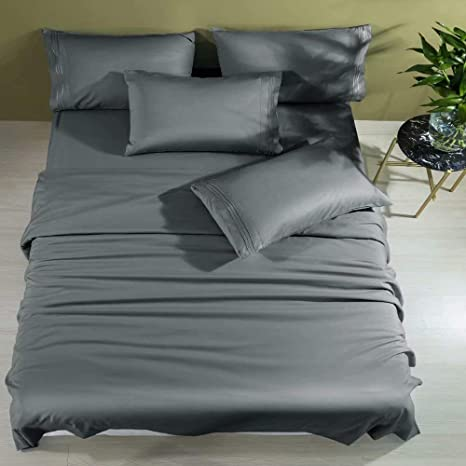 Wrinkle Free Soft Comfortable Bamboo 6 Pieces Sheet Set Queen Size Black Color