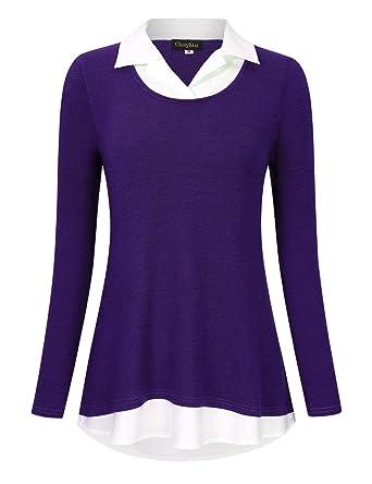 97c8949d GloryStar Women's Long Sleeve Contrast Collared Shirts Patchwork Work Blouse  Tunics Tops (M, Purple