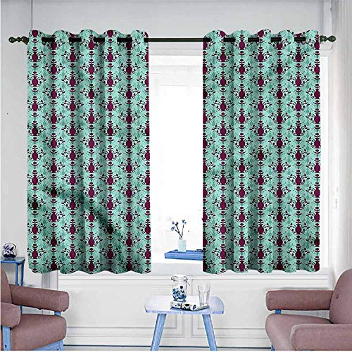 Caprice Vase - VIVIDX Living Room/Bedroom Window Curtains,Damask,Floral Vase Pattern,Insulated with Grommet Curtains for Bedroom,W55x39L