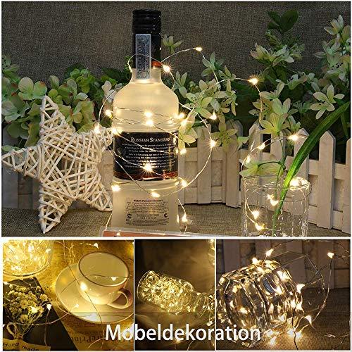 Luz Led Botella 2M 20Led [10 Piezas] Etmury Luces de Hadas para Botellas, Botella de Vino Alambre de Cobre Luces de Hadas para Fiesta Boda Vacaciones ...