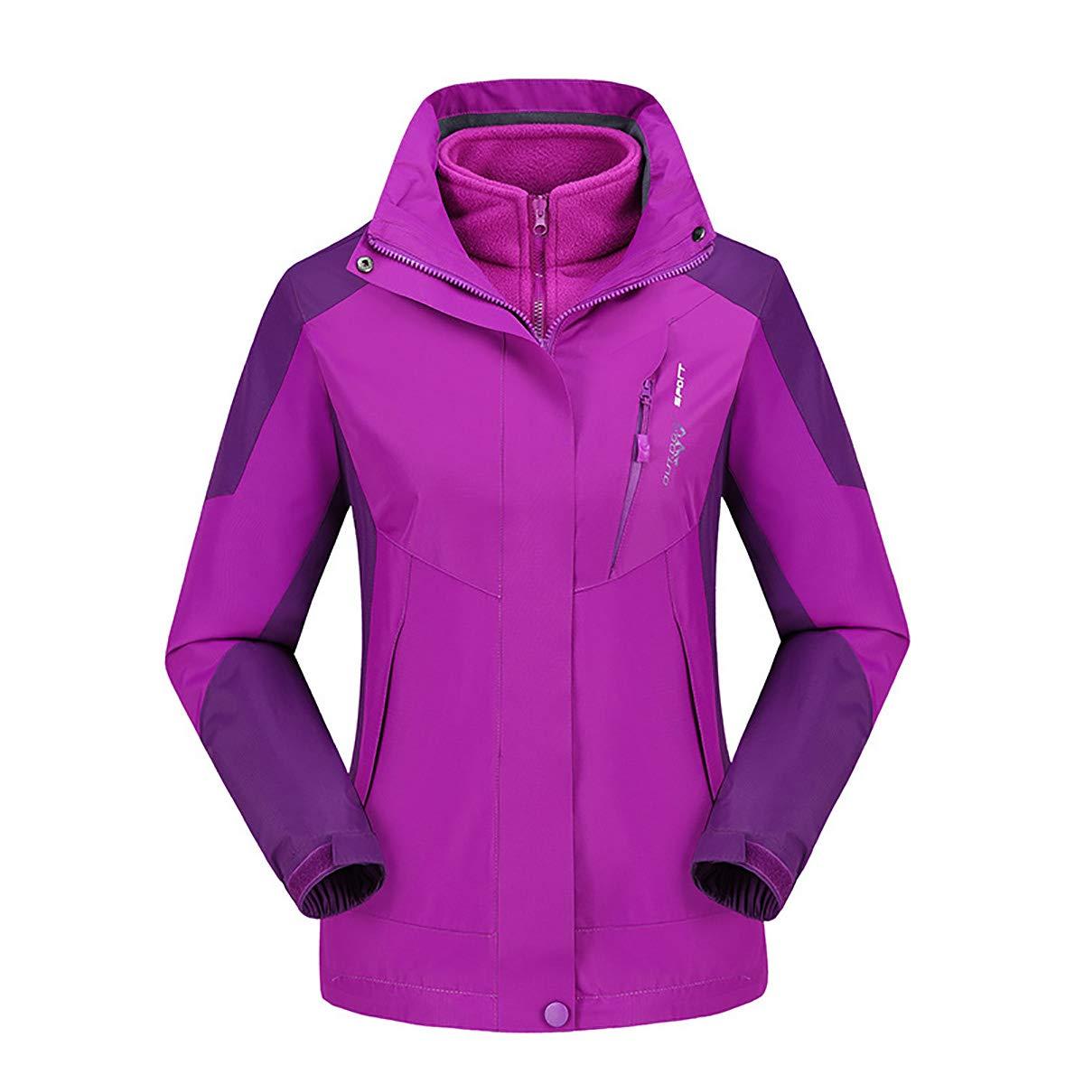 violet XXXXL W&TT Femmes 3-en-1 Veste, Doubleure en Molleton Détachable Deux Pièces Doudoune Coupe-Vent Imperméable Chaud Extérieur Alpinisme Sportswear,rouge,XXXXL