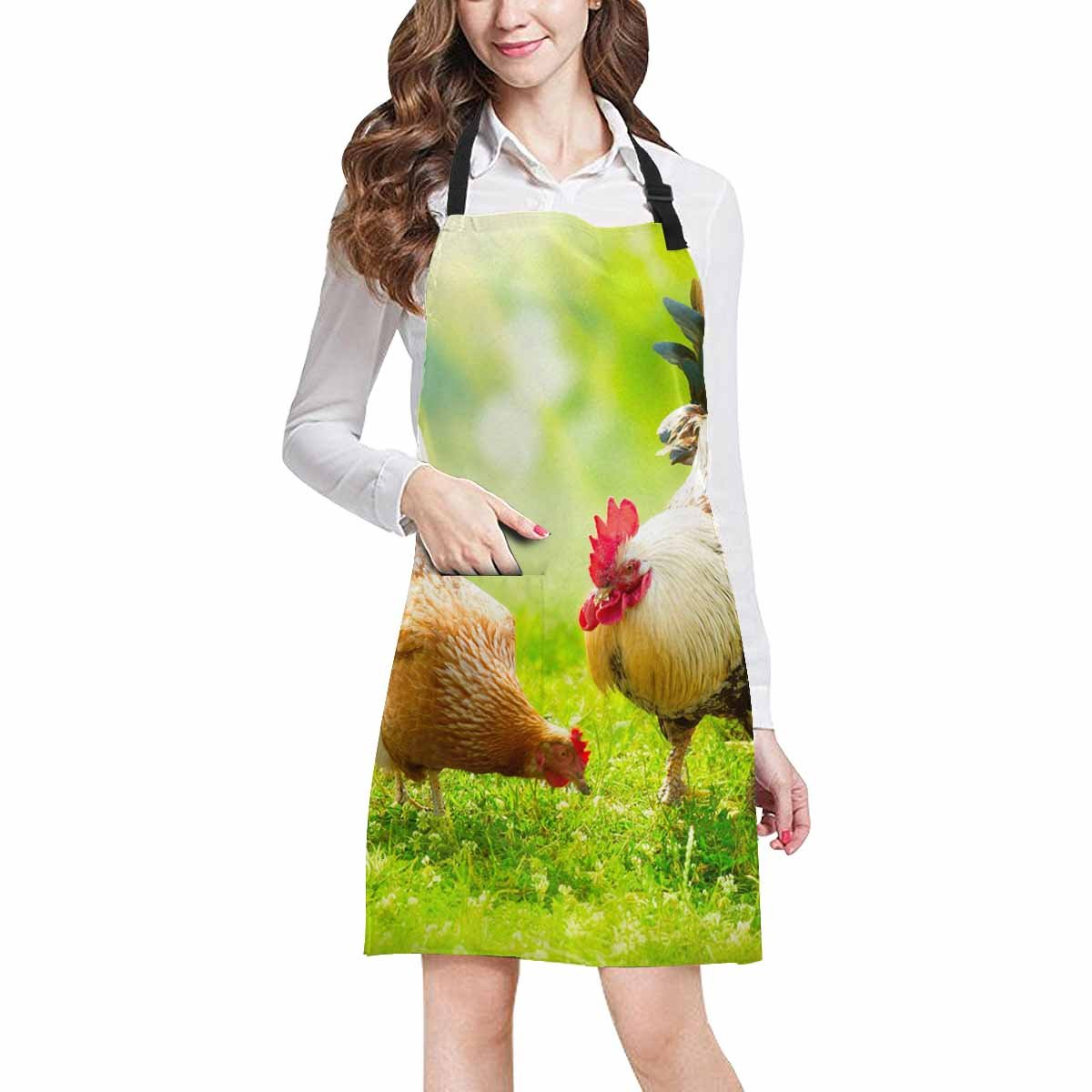 InterestPrint Funny Animal Chickens Cock and Hens Adjustable Bib Apron with Pockets - Commercial Restaurant and Home Kitchen Adjustable Apron, Plus Size
