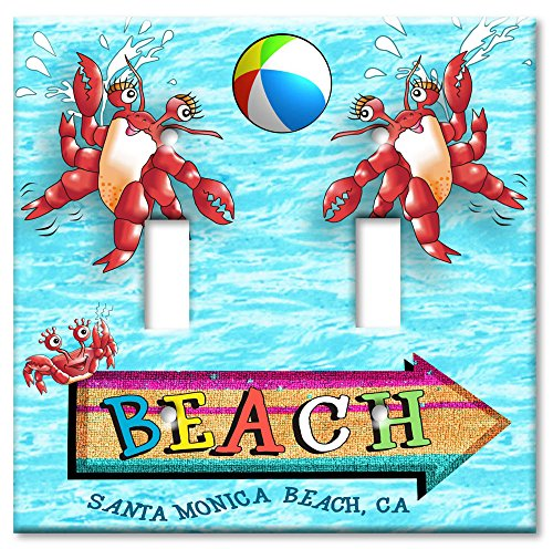 Art Plates - Santa Monica Beach Switch Plate - Double - Monica Santa Outlet