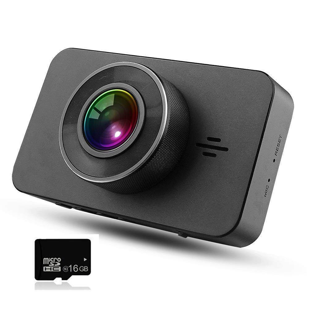 """Dash Cam FHD 1296P DVR Car Driving Recorder 3"""" LCD Screen 170°Wide Angle, G-Sensor, WDR, Parking Monitor, Loop Recording, Motion Detection With 16GB TF card"""