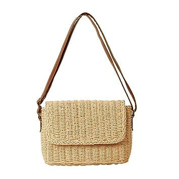 gaeruite Rattan Vintage Gewebte Tasche Strandtasche für Mädchen Frauen, Retro Single Schulter Stroh Tasche Einkaufstasche Reisetasche