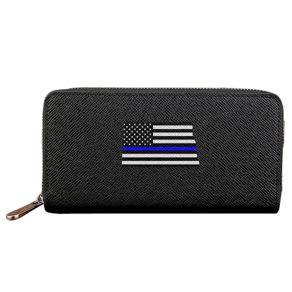 - North Dakota State State State Map Shape With Thin bluee Line Design Wallet Case Credit Card Holder Purse With Zipper 3f5575