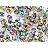 Czech Fire-Polished Glass Beads Rounds 6mm Crystal Vitrail 25 pcs