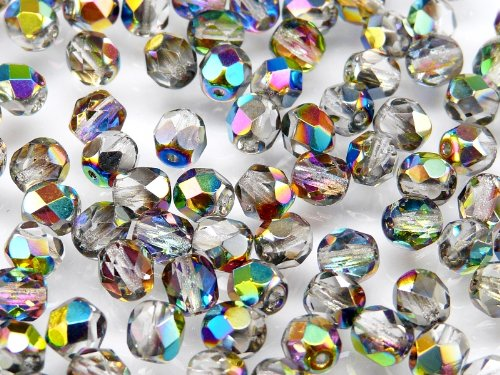 300 pcs Czech Faceted Round Firepolished 6mm Crystal Vitrail Glass Beads 1/4 Mass Fire Polished -