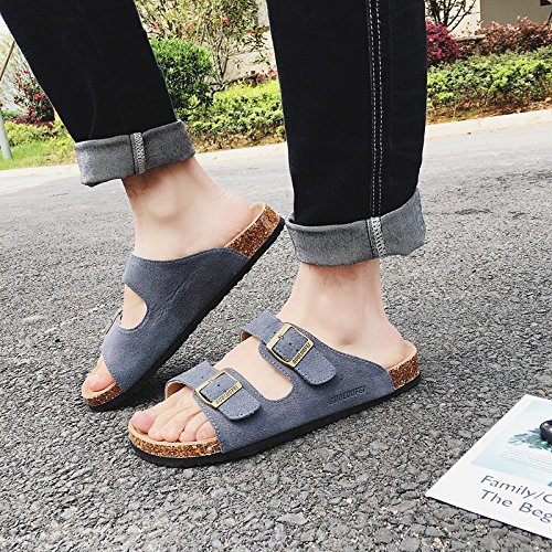 Xing Lin Sandales En Cuir Hommes D'été Sandales Antidérapant Et Plat Grand Pour Les Couples Chaussures De Plage Cork Pantoufles Cool Pantoufles Femme Standard 42 109 N Laine Double-gris