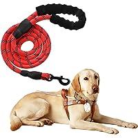 Litthing Correa para el Perro Nylon Ajustable Negro sólido Reflectante 154 cm para Perros Grandes o medianos Adecuado para Correr Senderismo Correr