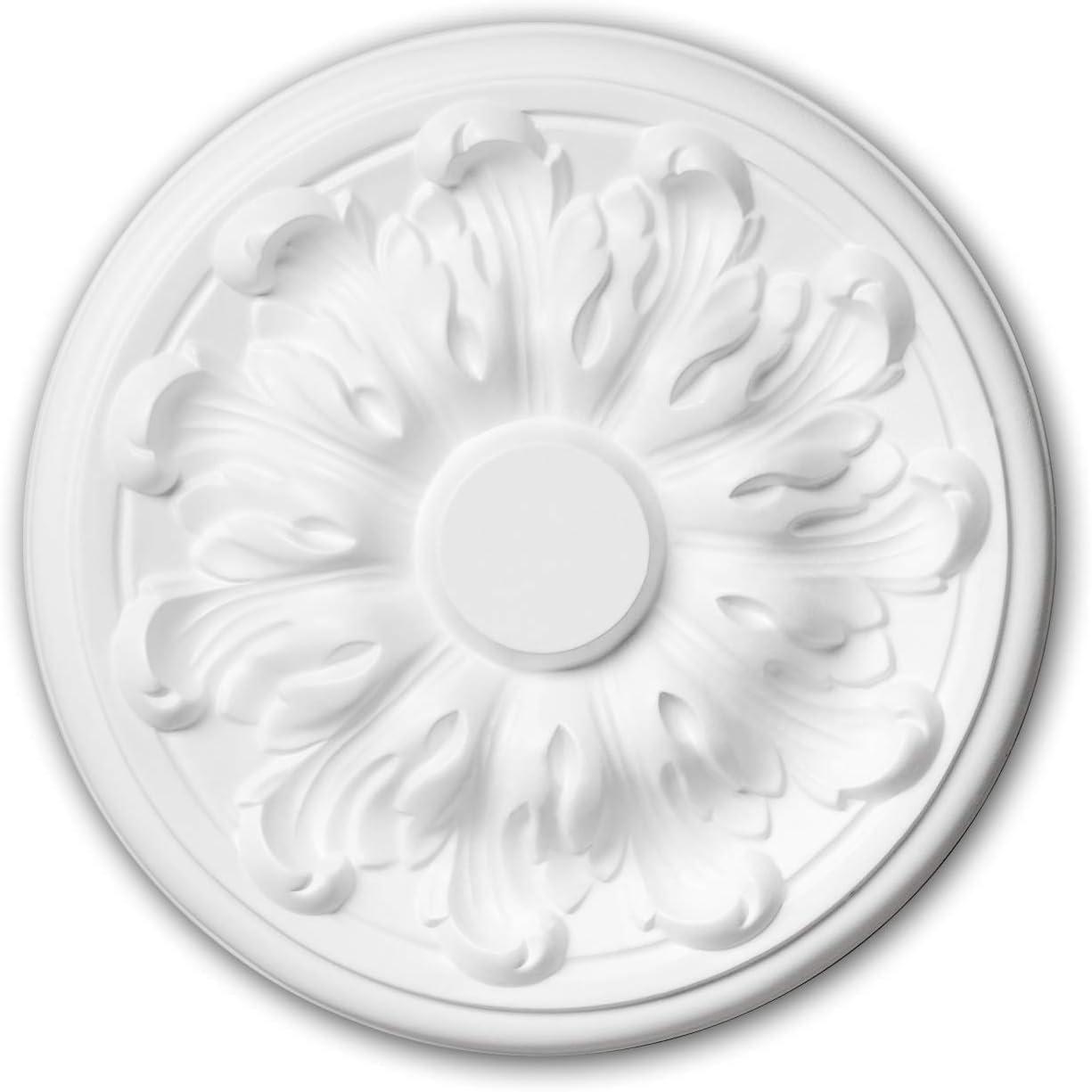 Roset/ón 156010 Profhome Elemento para techo Elemento decorativo estilo Neoclasicismo blanco /Ø 19,3 cm