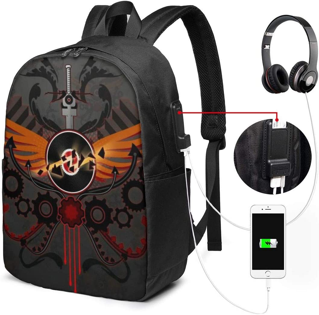 Homestuck Backpack 17 in Large Laptop Backpack with USB Charging Port and Headphone Jack is Suitable for Travel School Office