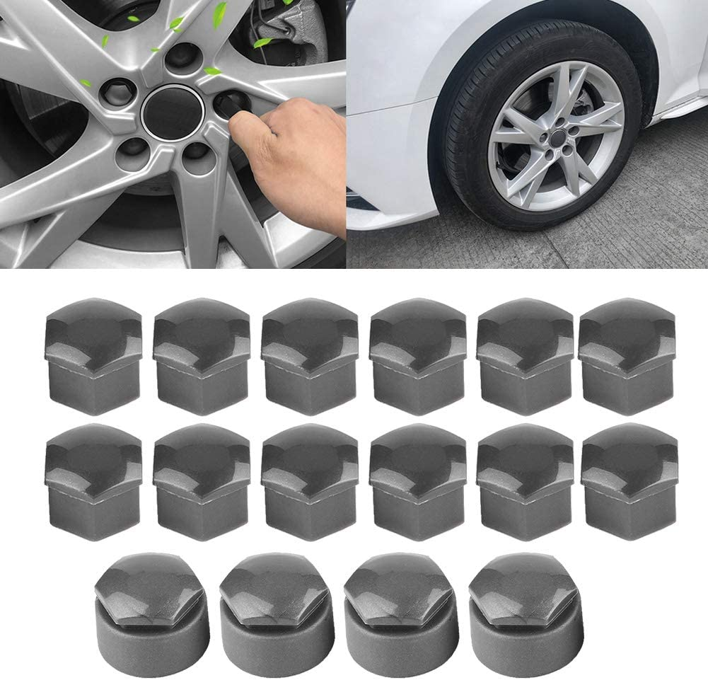 20pcs Black Wheel Lug Nut Bolt Cover Caps with Clips for Audi 17mm Wheel Nut Cover
