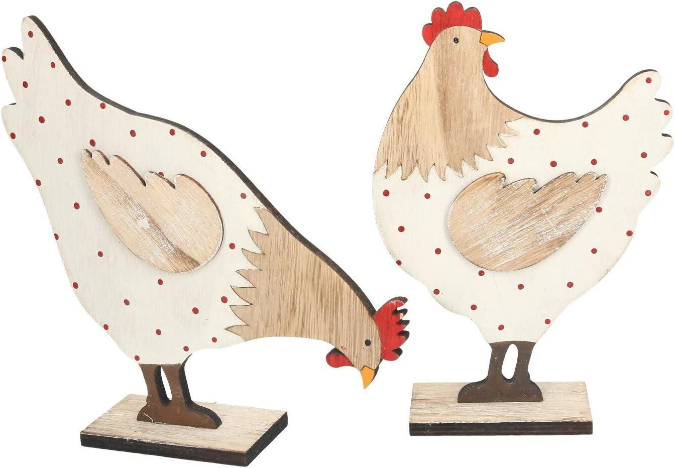AmaCasa - Juego de 2 gallinas Decorativas (20 x 13,5 x 5 cm, Madera): Amazon.es: Juguetes y juegos