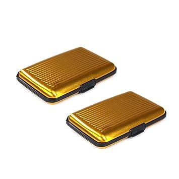 Com Four Spritzwasser Geschütztes Etui Für Kreditkarten Visitenkarten Geldscheine Mit Geriffelte Oberfläche Goldfarben 2 Stück Gold 2 Stück