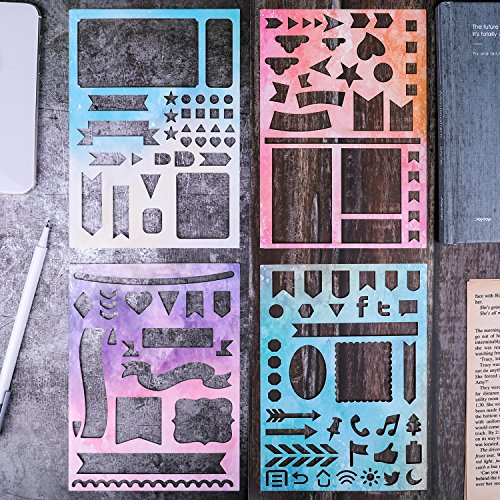 Bullet Journal Stencil - Set of 4 Laminated Cardstock Journal Stencil, Banners, Dividers, Icons for Journal/A5 Notebook/Diary/Scrapbook DIY Drawing Template 5 x 7 Inches