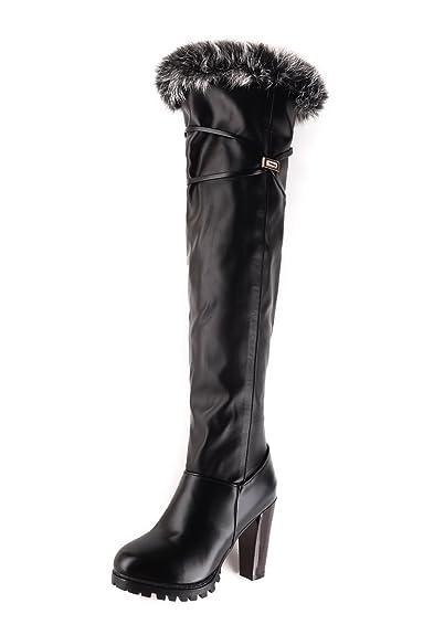 VogueZone009 Damen Rund Zehe Hoher Absatz Weiches Material Hoch-Spitze Eingelegt Stiefel, Weiß, 34
