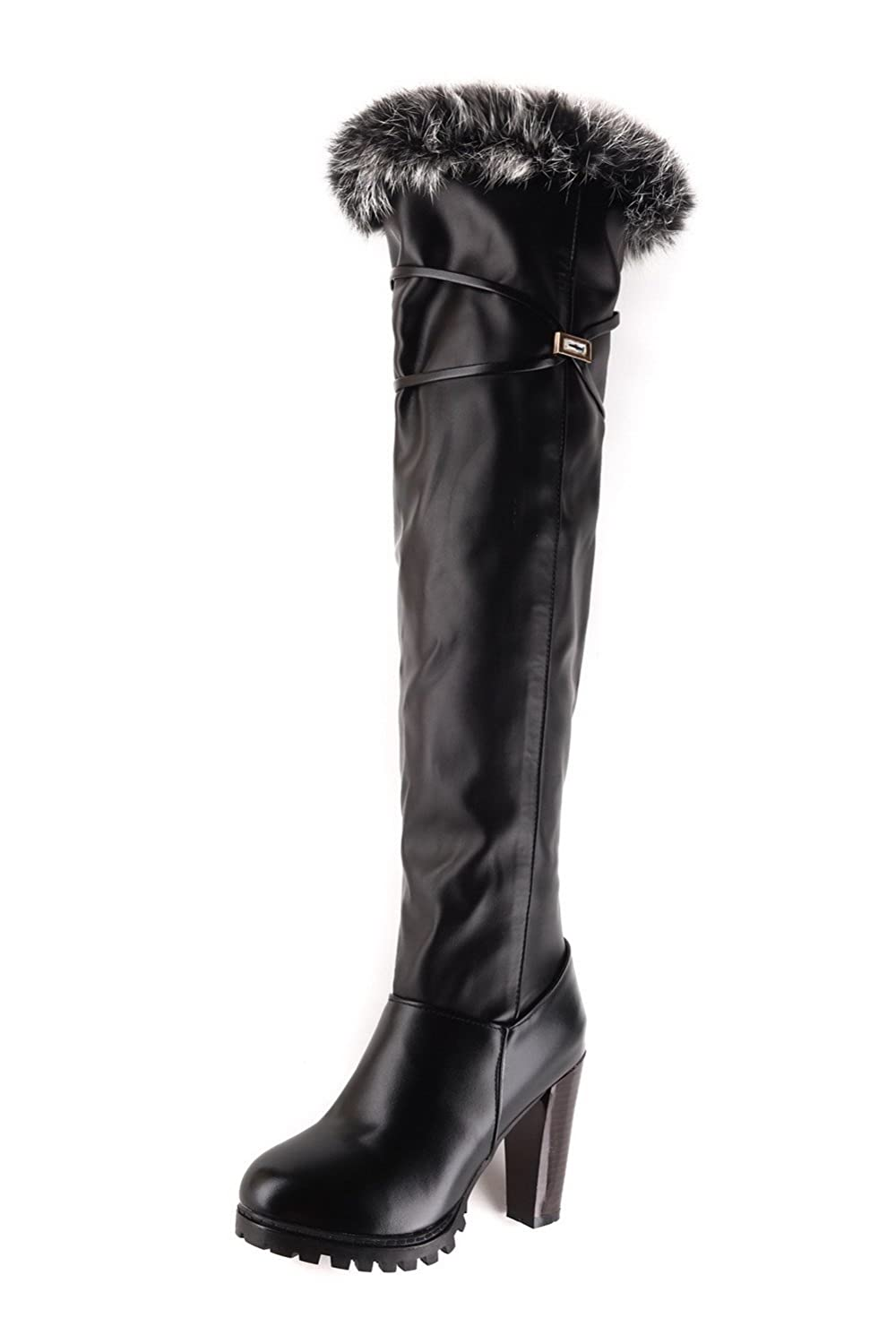 VogueZone009 Women's Soft Material Round Closed Toe Solid High-top High-Heels Boots