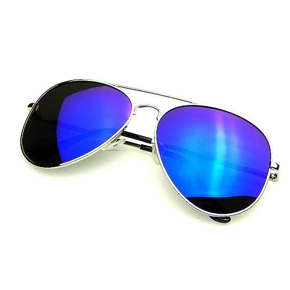 Emblem Eyewear Espejo Completo Flash Polarizados Gafas De Sol De Aviador (Azul Plata)