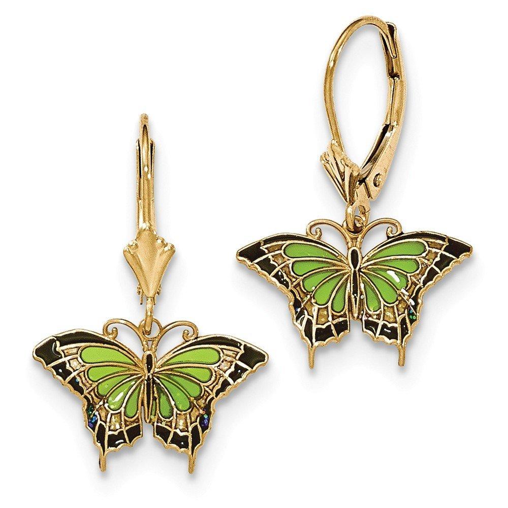 14K Gold Butterfly w/Green Stained Glass Acrylic Wings Leverback Earrings by PriceRock